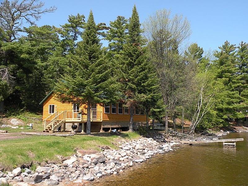Cabin near water.