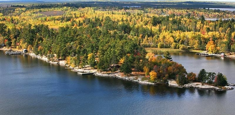 Aerial view of lake and trees in autumn.