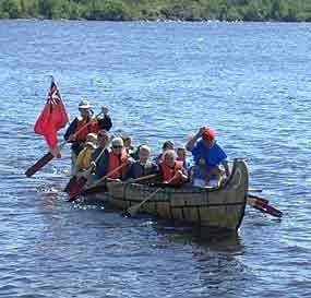 People in a canoe.